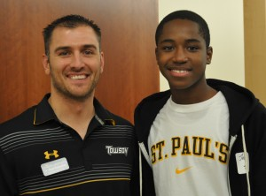 Dave Fedorchak, Director of Undergraduate Admissions for Towson University, with B.E.S.T. Student