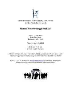 Alumni Networking Breakfast Invitation