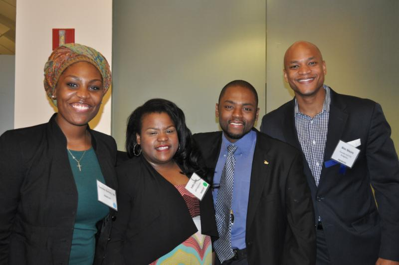 Panelists Tuesday Barnes '09 B.E.S.T. Alumna, India Leach, and Verlando Brown with Wes Moore