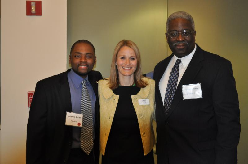 Panelist Verlando Brown with Jessica Suriano, Executive Director of B.E.S.T. and Chair of the First Generation Affinity Group and Stu Simms, President of B.E.S.T.'s Board of Trustees