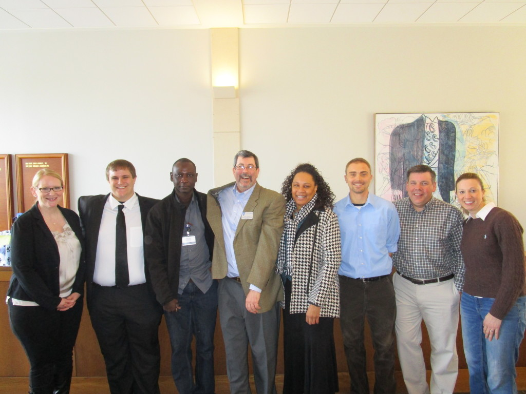 Left to right: Jennifer Coveney, Johns Hopkins University; Mark Tasker, UMBC; Jean-Paul Diatta, Johns Hopkins University; Carl Ahlgren, Gilman School; Albertha Mellerson, Johns Hopkins University; Peter Wyatt, Johns Hopkins University; Tom Patterson, Loyola University; Stephanie Bender, Goucher College
