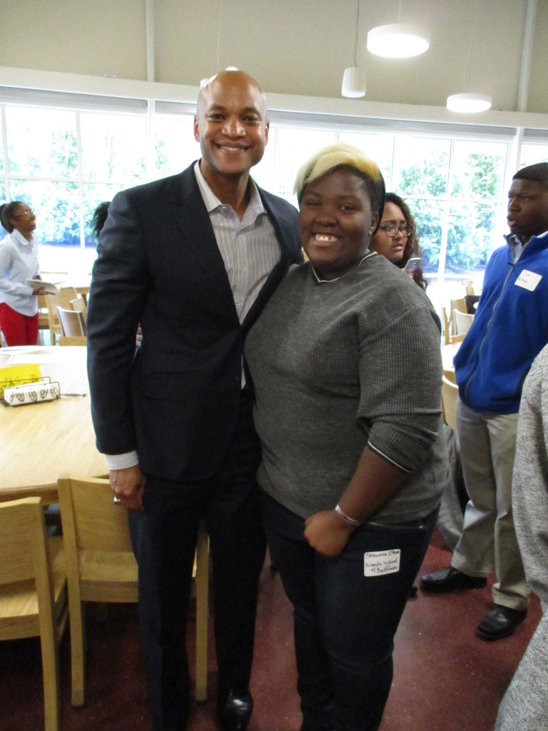 Wes Moore and B.E.S.T. Senior from Friends School of Baltimore
