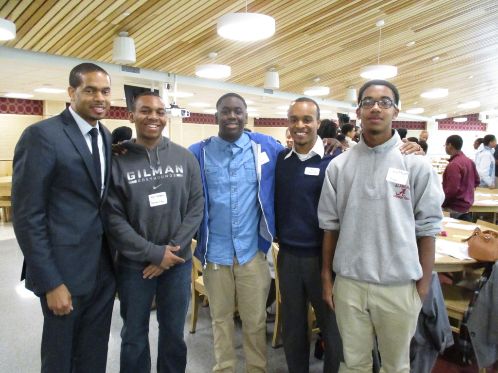 Karlo Young, B.E.S.T. Board of Trustees, with Students and Khalil Uqdah, Program Director
