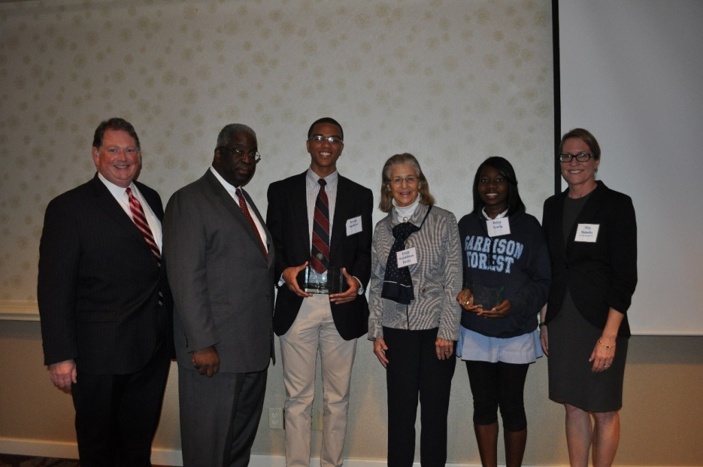 Chris Post, Head of The Boys' Latin School of Maryland; Stu Simms, B.E.S.T. Board President; Josiah B., Panitz Leadership Award Recipient; Linda Hambleton Panitz;  Ryley Y., Panitz Leadership Award Recipient; Kim Roberts, Head of Garrison Forest School